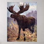 Animal salvaje, alces o alces del vintage por el póster