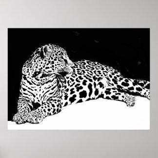 Animal salvaje blanco negro del arte pop del póster