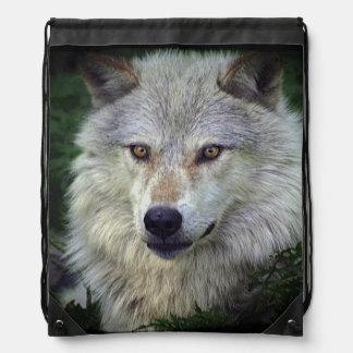 Animal salvaje del lobo gris del lobo de madera mochila