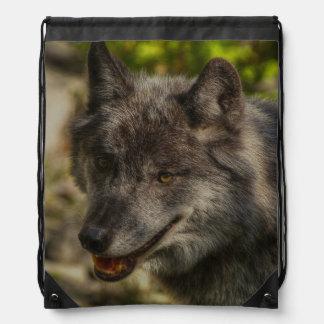 Animal salvaje del lobo gris del lobo de madera mochilas