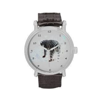 Animal salvaje del tigre blanco reloj