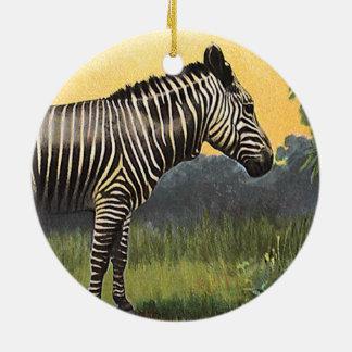 Animal salvaje del vintage, cebra en la sabana adorno redondo de cerámica