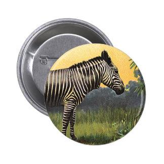 Animal salvaje del vintage, cebra en la sabana chapa redonda 5 cm