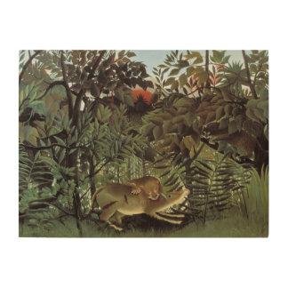 Animal salvaje del vintage, león hambriento de cuadro de madera