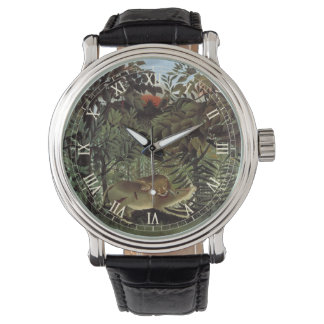 Animal salvaje del vintage, león hambriento de relojes de pulsera