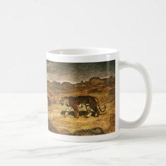 Animal salvaje del vintage, llanos de itinerancia taza de café