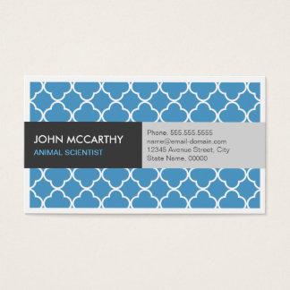 Animal Scientist - Modern Blue Quatrefoil Business Card
