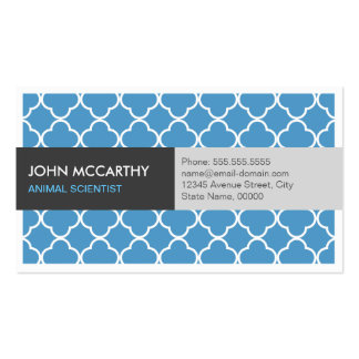 Animal Scientist - Modern Blue Quatrefoil Double-Sided Standard Business Cards (Pack Of 100)