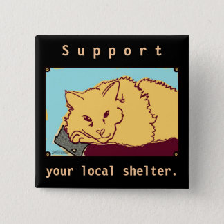 Animal shelter support Orange cat Button