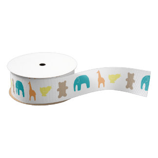 Animal Silhouette Baby Shower Ribbon Neutral