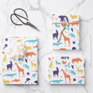 Animal Silhouette Pattern Wrapping Paper Sheets