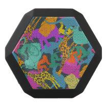 Animal Silhouettes Pattern Black Bluetooth Speaker