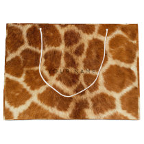 Animal Skin Brown Safari Giraffe Minimal Large Gift Bag