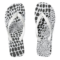 Animal Skin in Black & White Flip Flops