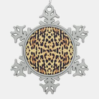 Animal skin print texture snowflake pewter christmas ornament