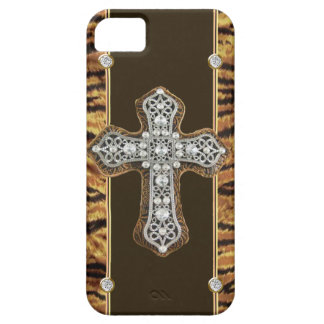Animal Skin Rhinestones & a Cross IPHONE4 CASE iPhone 5 Case