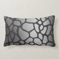 Animal Skin Silver Black Giraffe Safari Skin Lumbar Pillow