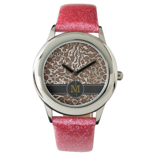 animal skin to add initial wristwatch