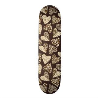 Animal skin with hearts skateboard deck