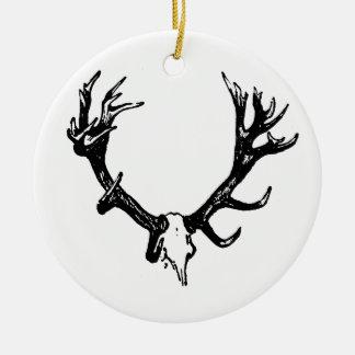 Animal Skull Illustration Ceramic Ornament