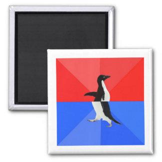 Animal social confuso Meme del consejo del pingüin Imán Cuadrado