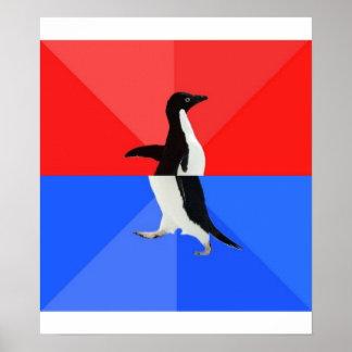 Animal social confuso Meme del consejo del pingüin Póster