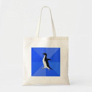 Animal social torpe Meme del consejo del pingüino Bolsa Tela Barata