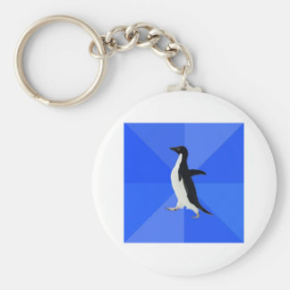 Animal social torpe Meme del consejo del pingüino Llavero Redondo Tipo Pin