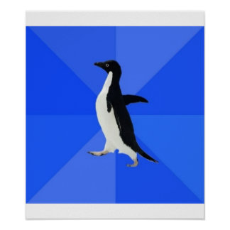 Animal social torpe Meme del consejo del pingüino Póster