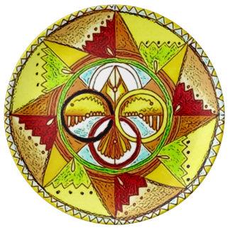 Animal Spirit Totem Mandala Porcelain Plates