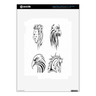 Animal tattoo vectors design skins for iPad 3