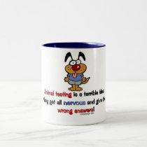 Animal Testing Humor Two-Tone Coffee Mug