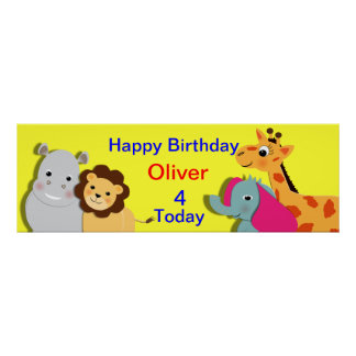 Animal Theme Happy Birthday Personalized Banner Posters