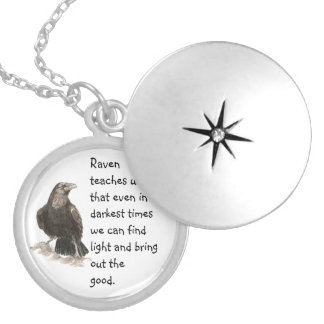 Animal Totem Raven Inspirational Nature Guide Round Locket Necklace