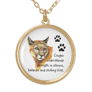 Animal Totems,Cougar  Encouragment and Inspiration Gold Plated Necklace