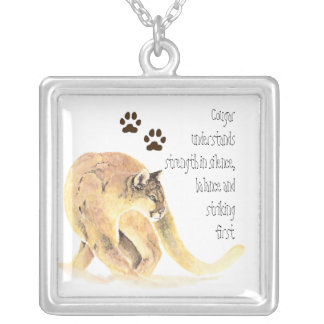 Animal Totems, Cougar Encouragment and Inspiration Silver Plated Necklace