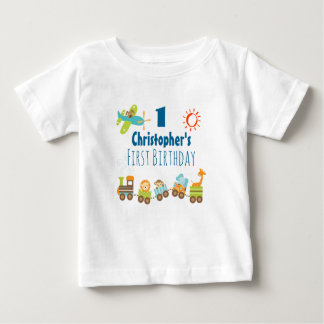 Animal Toy Train and Airplane First Birthday Baby T-Shirt