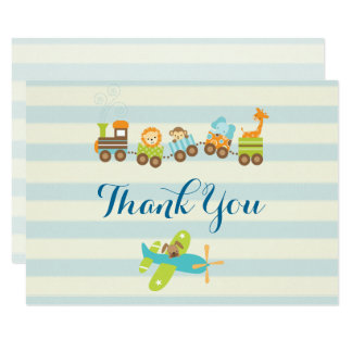 Animal Toy Train and Airplane on Stripes Thank You Card