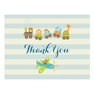 Toddler & Baby themed Animal Toy Train and Airplane on Stripes Thank You Postcard