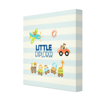 Animal Toy Train Car and Airplane Little Explorer Canvas Print