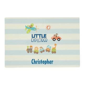 Animal Toy Train Car and Airplane Little Explorer Placemat