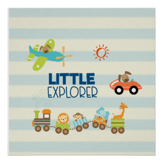 Animal Toy Train Car and Airplane Little Explorer Poster