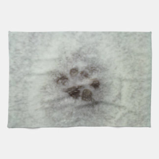 Animal tracks in the snow hand towels