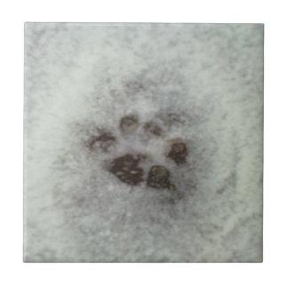 Animal tracks in the snow ceramic tiles