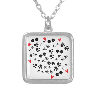 Animal Tracks Square Pendant Necklace
