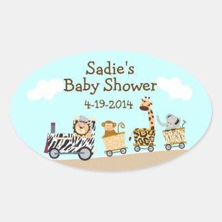 Animal Train Baby Shower Sticker Sheet