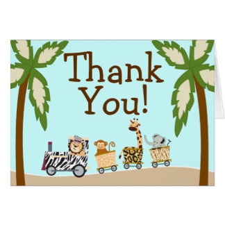 Animal Train Baby Shower Thank You Notecard Stationery Note Card