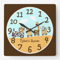 Animal Train Baby Wall Clock