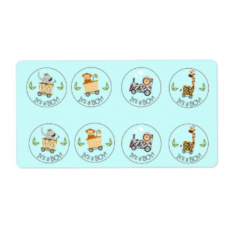 Animal Train Chocolate Kiss Favor Stickers