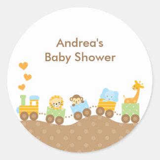 Animal Train Stickers Round Sticker